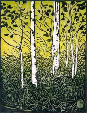 Birch Meadow Woodblock Print