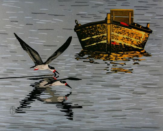 Skimmers & Boat Limited Edition Woodblock Print